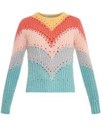 Valentino Rainbow Intarsia-Knit Sweater - Lyst