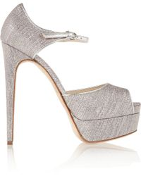 Brian Atwood Lamécovered Leather Peeptoe Platform Pumps - Lyst