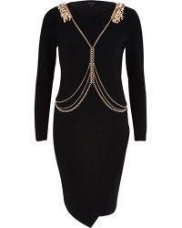 River Island Black Harness Bodycon Dress black - Lyst