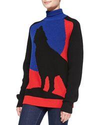 Risto Blue Moon Wolf Turtleneck Sweater - Lyst
