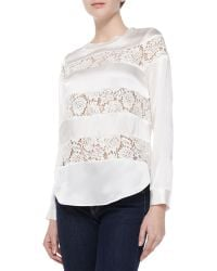 Rebecca Taylor Silk  Lace Long-sleeve Top - Lyst