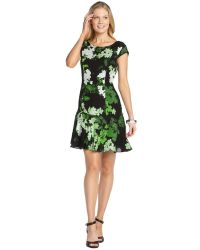 Ali Ro Spring Green And Black Silk Floral Printed Sleeveless Dress - Lyst