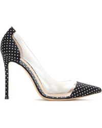 Gianvito Rossi Polka-Dot Fabric And Transparent Pumps - Lyst