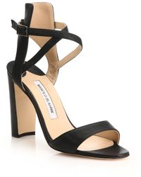 Manolo Blahnik | Convu Suede Ankle-cuff Sandals | Lyst