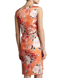 St. John Collection Chrysanthemum Print Stretch Silk Charmeuse Sleeveless Shift Dress - Lyst