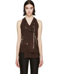 Costume National Brown Suede Biker Vest - Lyst
