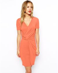 Asos Body-Conscious Dress With Wrap And Twist Detail And Short Sleeves - Lyst