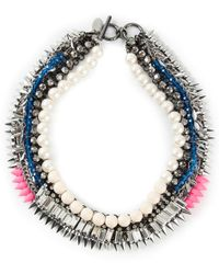 Venna - Pearly Spiked Collar Necklace - Lyst