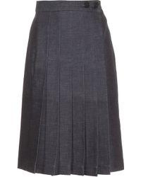 Victoria Beckham | Pleated Denim Skirt | Lyst