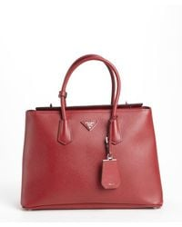 Prada Red Leather Logo Stamp Top Handle Tote - Lyst