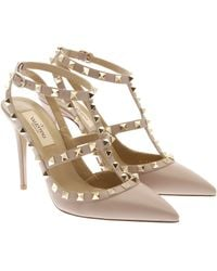 Valentino Rockstud Leather And Nappa Ankle Strap - Lyst