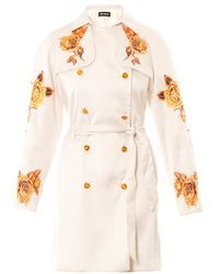 House Of Holland Rose Embroidered Trench Coat - Lyst