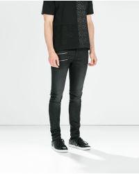 Zara Black Jeans with Zips - Lyst