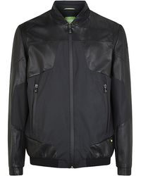 Boss Green Leather Detail Bomber Jacket - Lyst