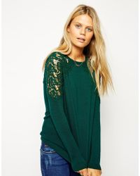 Asos Jumper with Lace Inserts - Lyst