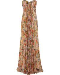 Alexander McQueen Floral-print Silk-chiffon Gown - Lyst