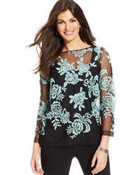 Karen Kane Floral-embroidered Lace-trim Sheer Top - Lyst