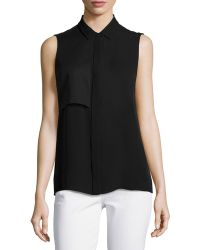 Elie Tahari Shelby Sleeveless Silk Blouse - Lyst