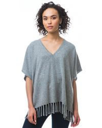 525 America   gray Cashmere Donegal Tweed Fringe Poncho   Lyst
