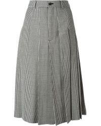 Comme Des Garçons Check Pattern Pleated Midi Skirt - Lyst