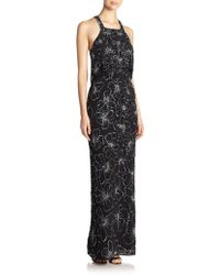 Parker Black Marlow Sequined Flower Gown - Lyst