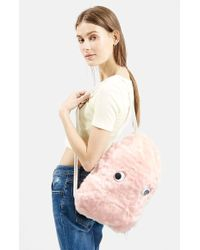 Topshop Faux Fur Drawstring Backpack pink - Lyst