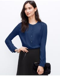 Ann Taylor Crepe Shirred Popover Blouse - Lyst