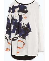 Zara Floral Printed T-Shirt - Lyst