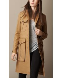 Burberry Cotton Blend Officer Coat - Lyst