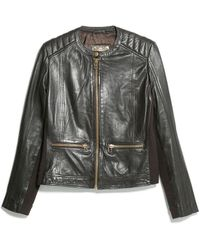 Mango Brown Leather Jacket - Lyst