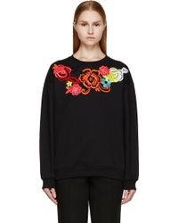 Christopher Kane Black and Fluorescent Floral Lace Sweatshirt - Lyst