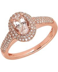 Lord & Taylor - Morganite, Diamond And 14k Rose Gold Ring - Lyst