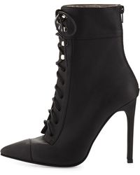 Jeffrey Campbell Elphaba Grainy Leather Lace-Up Bootie - Lyst