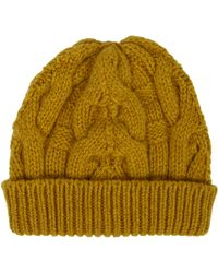 Barneys New York Cable-Knit Beanie yellow - Lyst