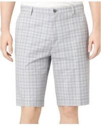 Calvin Klein Slub Plaid Shorts - Lyst