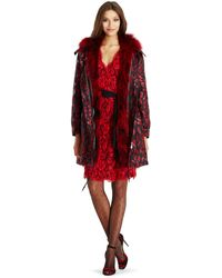 Diane von Furstenberg Dvf Brookes Jacquard And Fur Reversible Coat red - Lyst