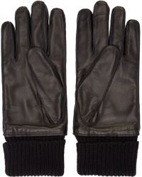 Burberry - Black Leather Gloves - Lyst