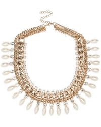 River Island Gold Tone Teardrop Pearl Necklace - Lyst