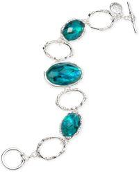 Jones New York - Silver-tone Oval Stone Toggle Bracelet - Lyst