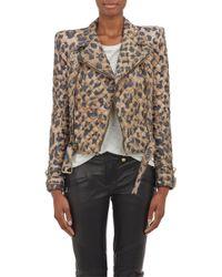 Balmain Leopard Quilted Moto Jacket - Lyst