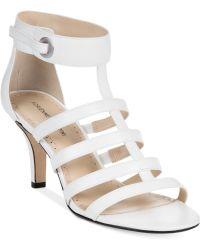 Adrienne Vittadini White Goldie Sandals - Lyst