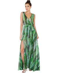 Akira Black Label - The Good Life Green Maxi Wrap Dress - Lyst