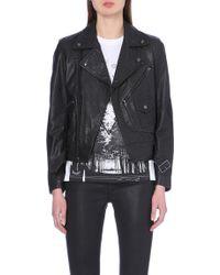 Diesel Leather Biker Jacket - For Women - Lyst