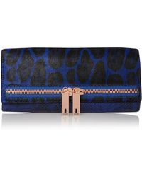 Ted Baker Blue Animal Print Clutch Bag - Lyst