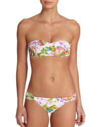 Shoshanna Botanical Twisted Bandeau Bikini Top multicolor - Lyst