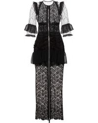 Alessandra Rich Ankle-Length Ruffled Lace Dress - Lyst