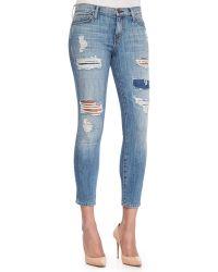 Current/Elliott The Stiletto Distressed Skinny Jeans - Lyst