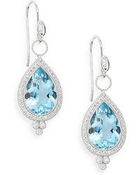 Jude Frances - Aquamarine, Diamond & 18k White Gold Teardrop Earrings - Lyst