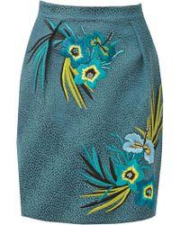 Matthew Williamson Hibiscus Silk Embroidered Skirt - Lyst