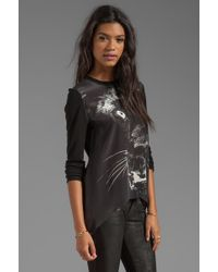 Torn By Ronny Kobo - Jonsy Long Sleeve Panther Knit Tee in Black - Lyst
